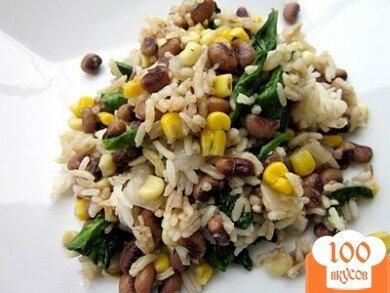 Фото рецепта: «Рис с горохом и шпинатом»