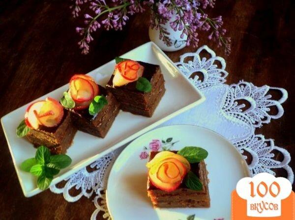 Фото рецепта: «Яблочно-абрикосовое пирожное (постное)»