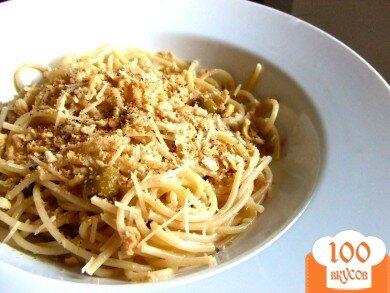 Фото рецепта: «Спагетти с оливками и сухарями»