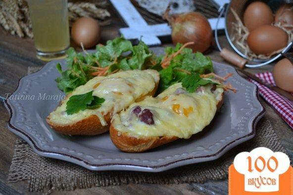Фото рецепта: «Горячие бутерброды с утиными желудочками, яйцом и сыром»