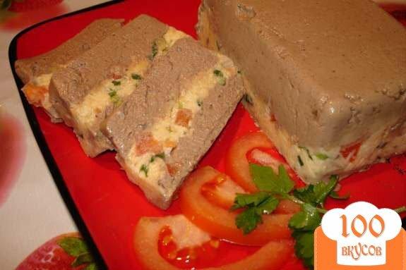 Фото рецепта: «Полосатый печеночный паштет из куриной (индющиной) печени с сыром»
