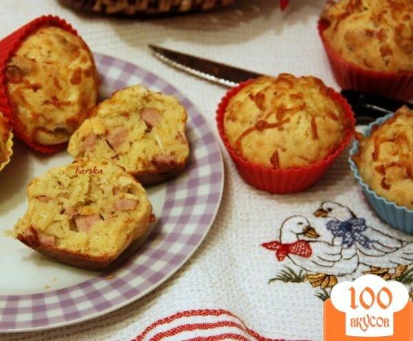 Фото рецепта: «Закусочные кексы с сыром и колбасным хлебом»
