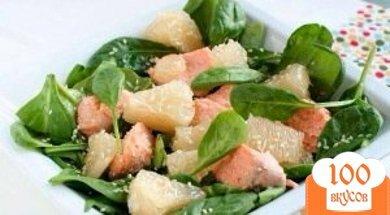 Фото рецепта: «Салат с лососем и помело»