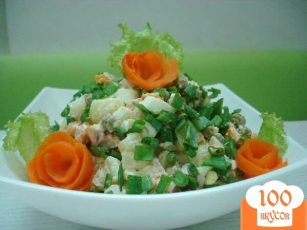 Фото рецепта: «Салат с копчёной курицей»