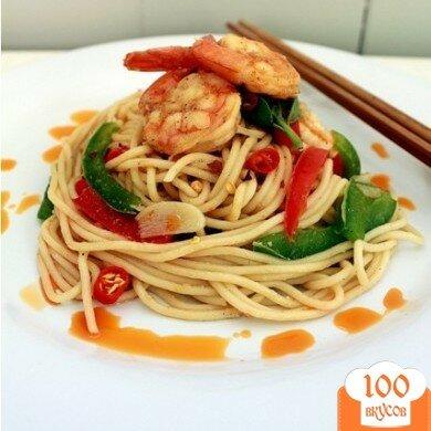 Фото рецепта: «Спагетти с креветками и овощами»
