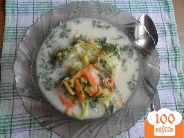 """Фото рецепта: «Сырный суп с креветками """"Послепраздничный""""»"""