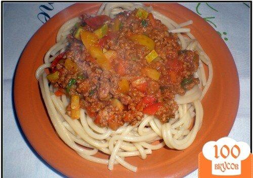 """Фото рецепта: «Спагетти """"Болоньезе"""" с перцем и кабачком»"""