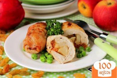 Фото рецепта: «Куриные рулетики с яблоками и изюмом»