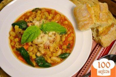 Фото рецепта: «Суп с пастой, фасолью и овощами»