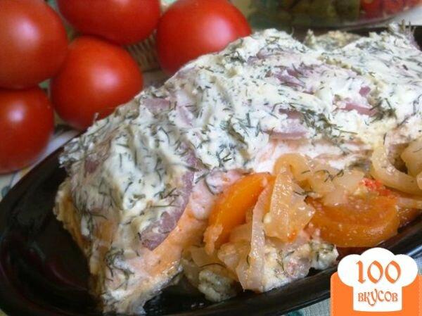 Фото рецепта: «Запеченная форель с овощами под соусом»