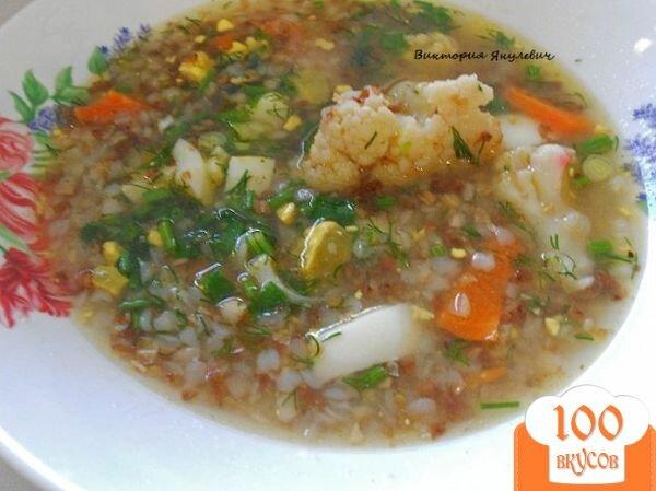 Фото рецепта: «Гречневый суп с цветной капустой и яйцом без картофеля»