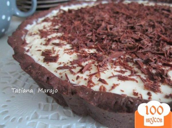 Фото рецепта: «Шоколадный тарт с кремом из маскарпоне»