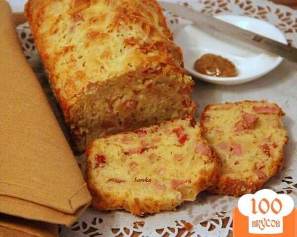 Фото рецепта: «Закусочный кекс с ветчиной, горчицей и сыром»