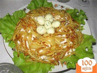 Фото рецепта: «Куриный салат Гнездо глухаря»