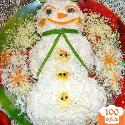 Фото рецепта: «Салат «Весёлый снеговик»»