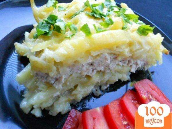 Фото рецепта: «Запеканка из сырого картофеля и куриного фарша»