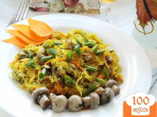 Фото рецепта: «Тушеная капуста с грибами»