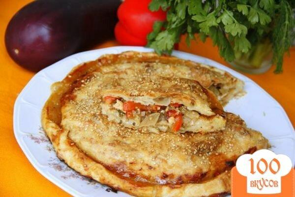 Фото рецепта: «Пирог с карамелизированными баклажанами»