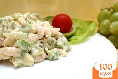 Фото рецепта: «Салат «Авокадо и креветки»»