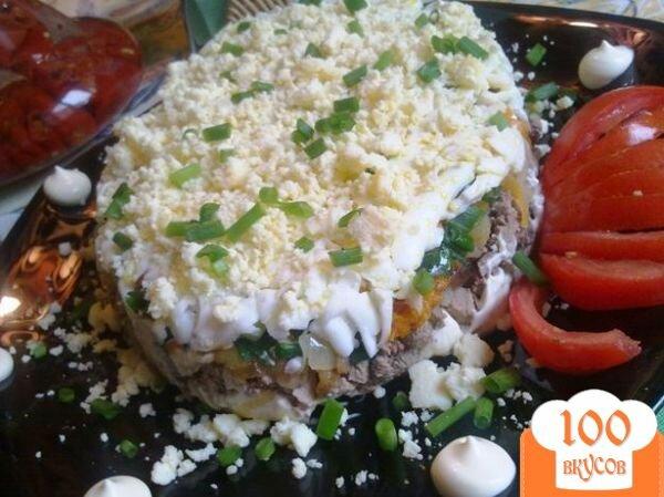 Фото рецепта: «Слоеный печеночный салатик»