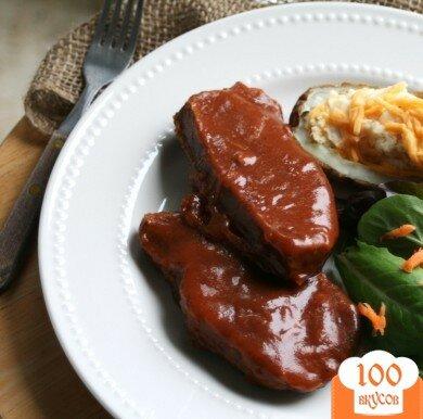 Фото рецепта: «Свиные отбивные в абрикосовом соусе»
