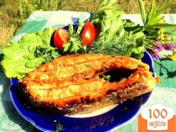Фото рецепта: «Семга на гриле в медово-горчичной глазури»