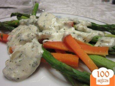 Фото рецепта: «Спаржа и морковь под сливочным соусом»