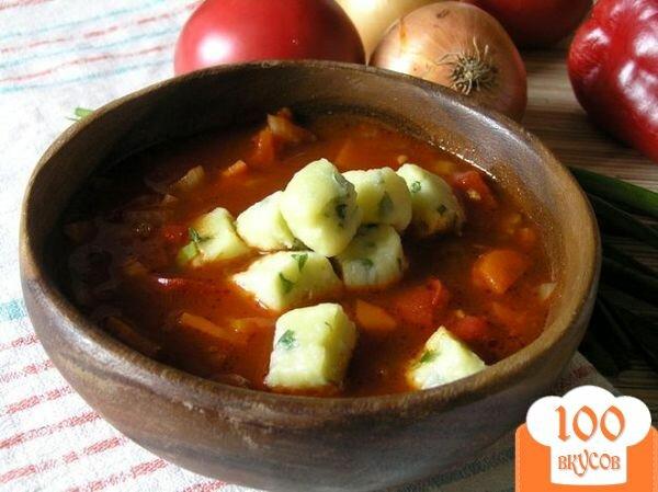 Фото рецепта: «Томатный суп с творожными клецками»