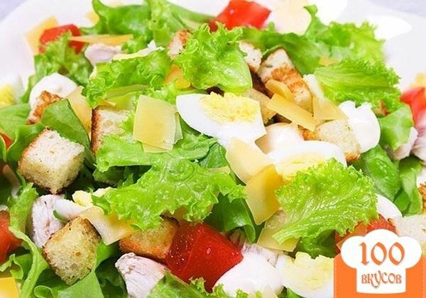 "Фото рецепта: «Салат ""Цезарь"" с ананасами»"