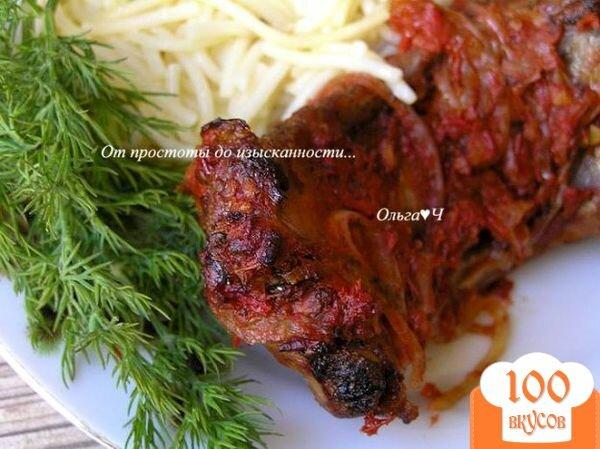 Фото рецепта: «Свиные ребрышки в томатном соусе с майораном»