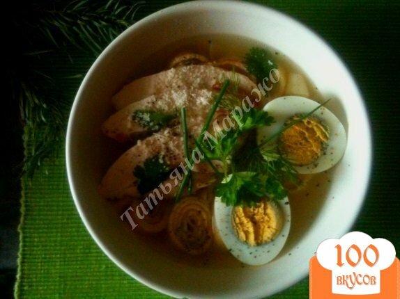 Фото рецепта: «Суп с блинной лапшой на курином бульоне»