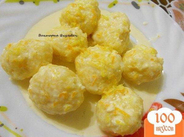 Фото рецепта: «Ленивые вареники со сметано - цитрусовым соусом»