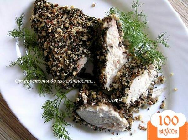Фото рецепта: «Куриные грудки в ореховой панировке с кунжутом»