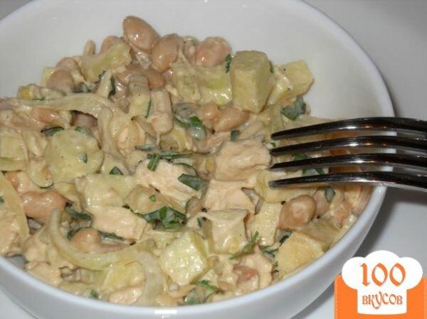 Фото рецепта: «Салат из курицы с фасолью и яблоком»