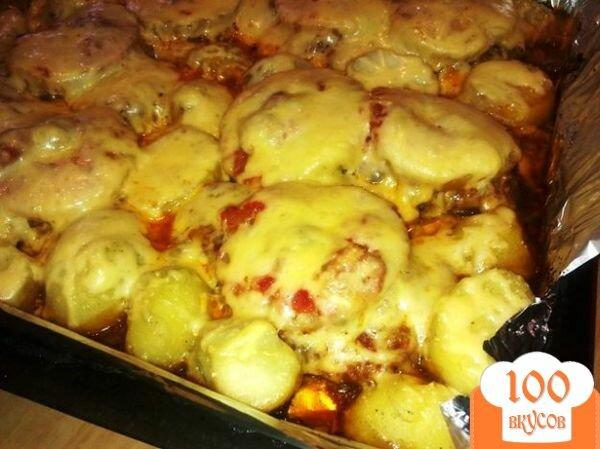 Картошка с ананасами и курицей в духовке рецепт