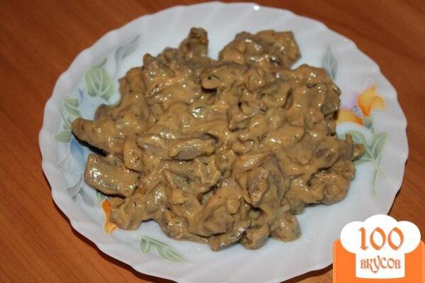 Печень по-строгановски классический рецепт с фото пошагово
