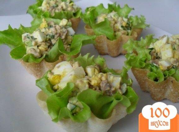 Салат с печенью трески в тарталетках рецепт с очень вкусный