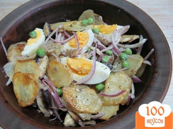 Фото рецепт салата с жареной картошкой
