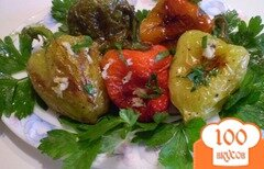Фото рецепта: «Жареный болгарский перец с чесноком и зеленью»
