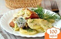 Фото рецепта: «Картофель с рыбой в мультиварке»
