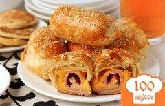 Фото рецепта: «Пирожки из слоёного теста с ветчиной и сыром»