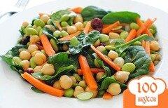 Фото рецепта: «Салат с соевыми бобами и шпинатом»