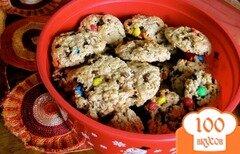 Фото рецепта: «Овсяное печенье с конфетами»