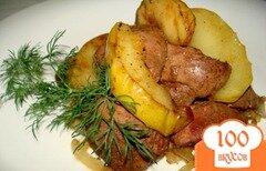 Фото рецепта: «Печень с яблоками и луком»