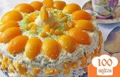 Фото рецепта: «Торт творожный с персиками»