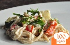Фото рецепта: «Спагетти в винном соусе с овощами»
