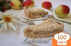 Фото рецепта: «Яблочно-творожный насыпной пирог»