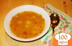 Фото рецепта: «Шафрановый суп с запеченой курицей»