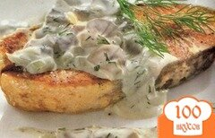 Фото рецепта: «Семга со сливками и грибами»