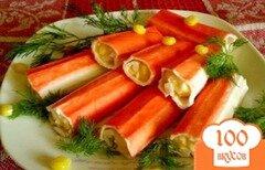 Фото рецепта: «Крабовые палочки фаршированные кукурузой и сыром»